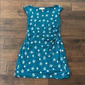 Loft Teal Flowered Dress. Size M.
